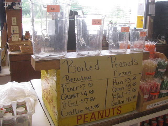 Measuring pitchers for boiled peanuts - Abbott Farms, Cowpens, North Carolina