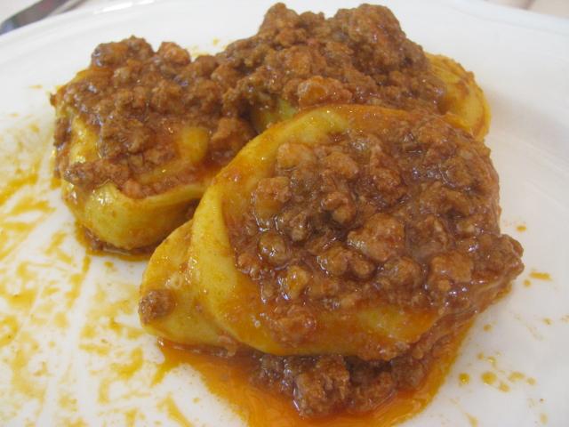 Tortellacci as served at the Trattoria Al Sgnadur (the rolling pin), Chiesuol del Fosso, Ferrara