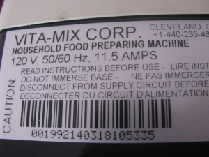 Voltage label for American Vitamix Blender