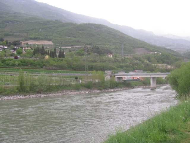 Adige River passing by Borgo Sacco's western enbankment