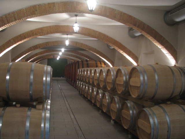 Oak barrels of Fojaneghe wine aging