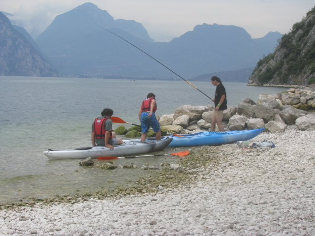 Canoeing and fishing along Lake Garda