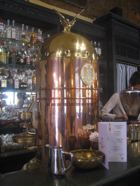 Old Copper Coffee Machine in use at San Marco's Coffee Shop - All rights incl. electr. Culinary Roots and Recipes 2016